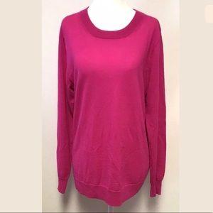J Crew Sawyer Sweater Wool Lightweight Hot Pink